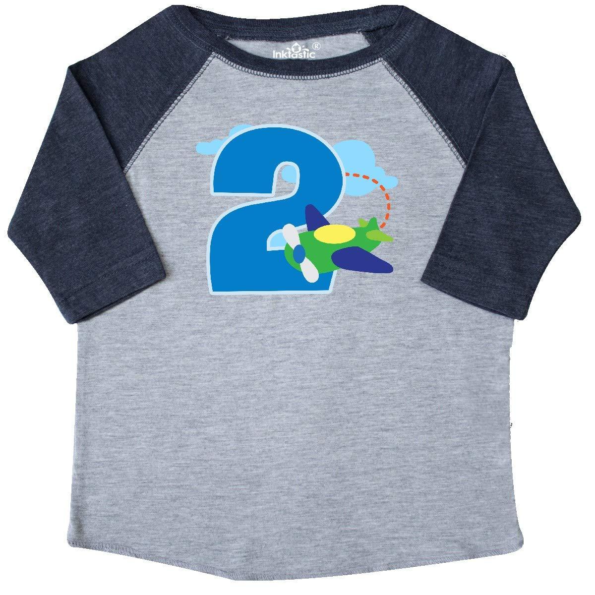 inktastic 2nd Birthday Airplane Boys 2 Year Old Toddler T-Shirt