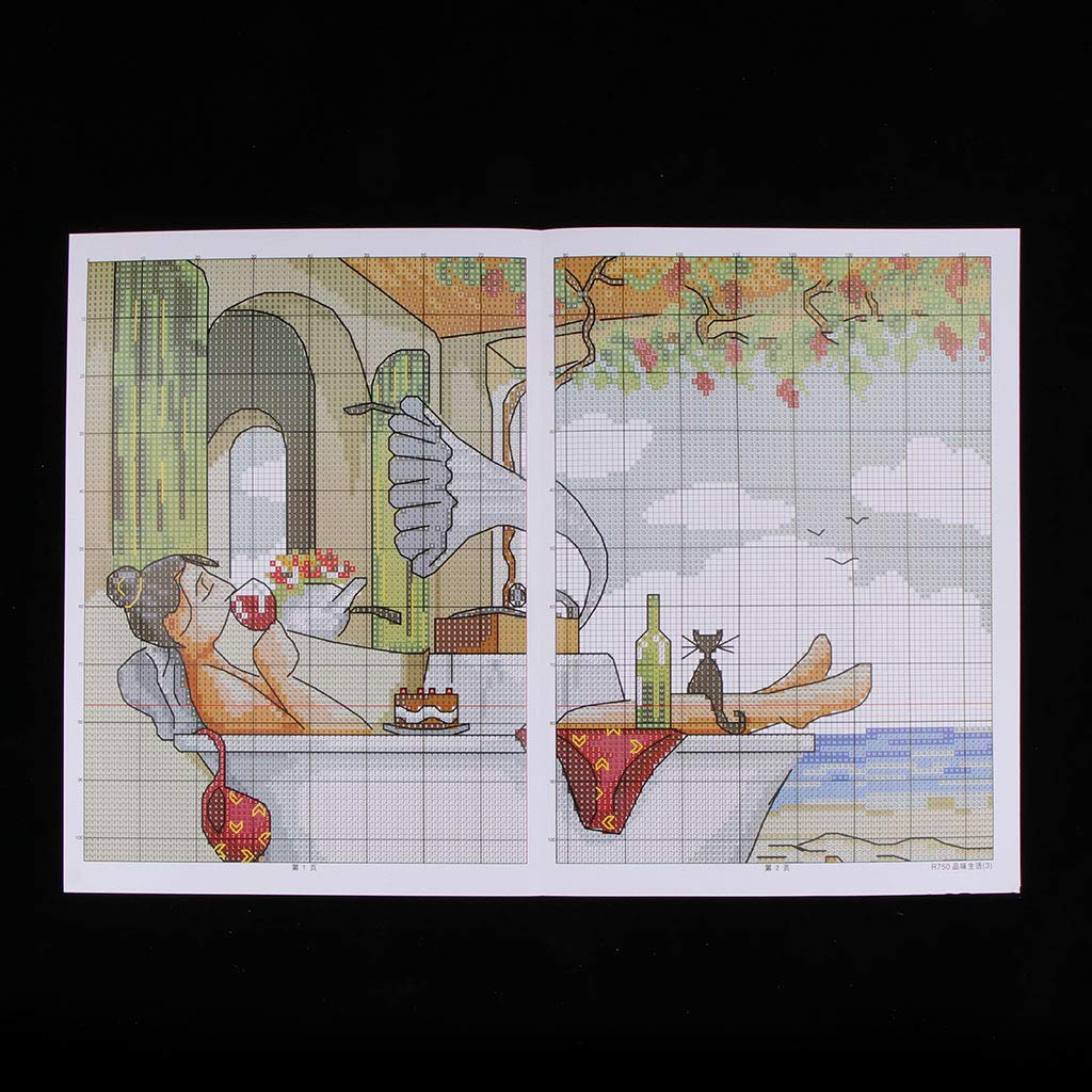 SM SunniMix Stamped//Counted Cross Stitch Kits for Beginners Enjoy Life Patterns Embroidery Needlepoint 11CT 45 x 45cm