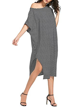 6963b374a68c Flovey Women Kaftan Maxi Dress Cold Shoulder Stripe Casual Loose Oversized Long  Dresses (Black-