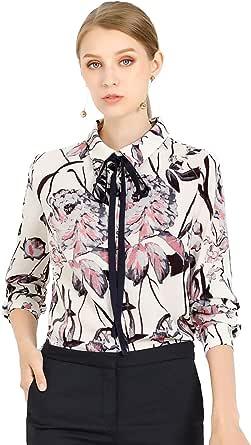 Allegra K Women's Floral Button Down Long Sleeves Tie Neck Work Office Shirt Blouse