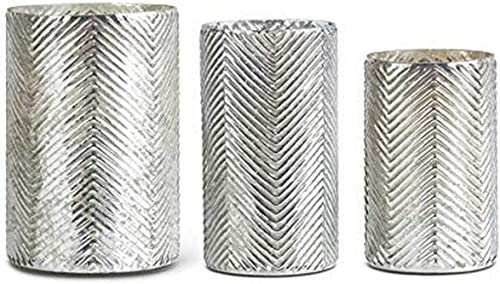K K Interiors 14901A Set of 3 Mercury Glass Vases with Herringbone Pattern, Grad Sizes