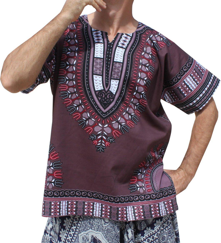 RaanPahMuang Brand Unisex Bright Colour Cotton Africa Dashiki Shirt Plain Front, Small, Dark Gray
