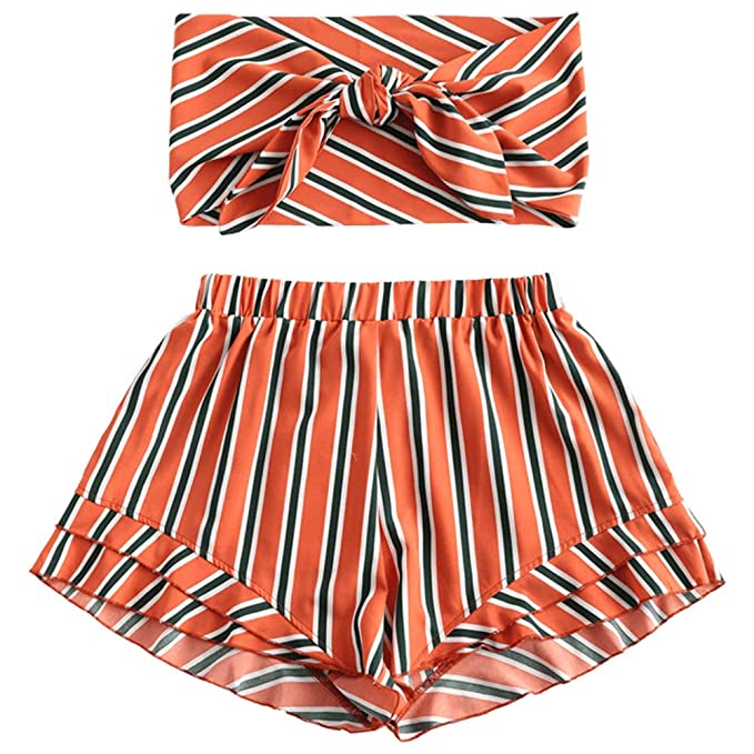 6cbec5e3787989 ZAFUL Women's Striped Two Piece Tie Knot Front Crop Bandeau Top and Shorts  Set (Papaya