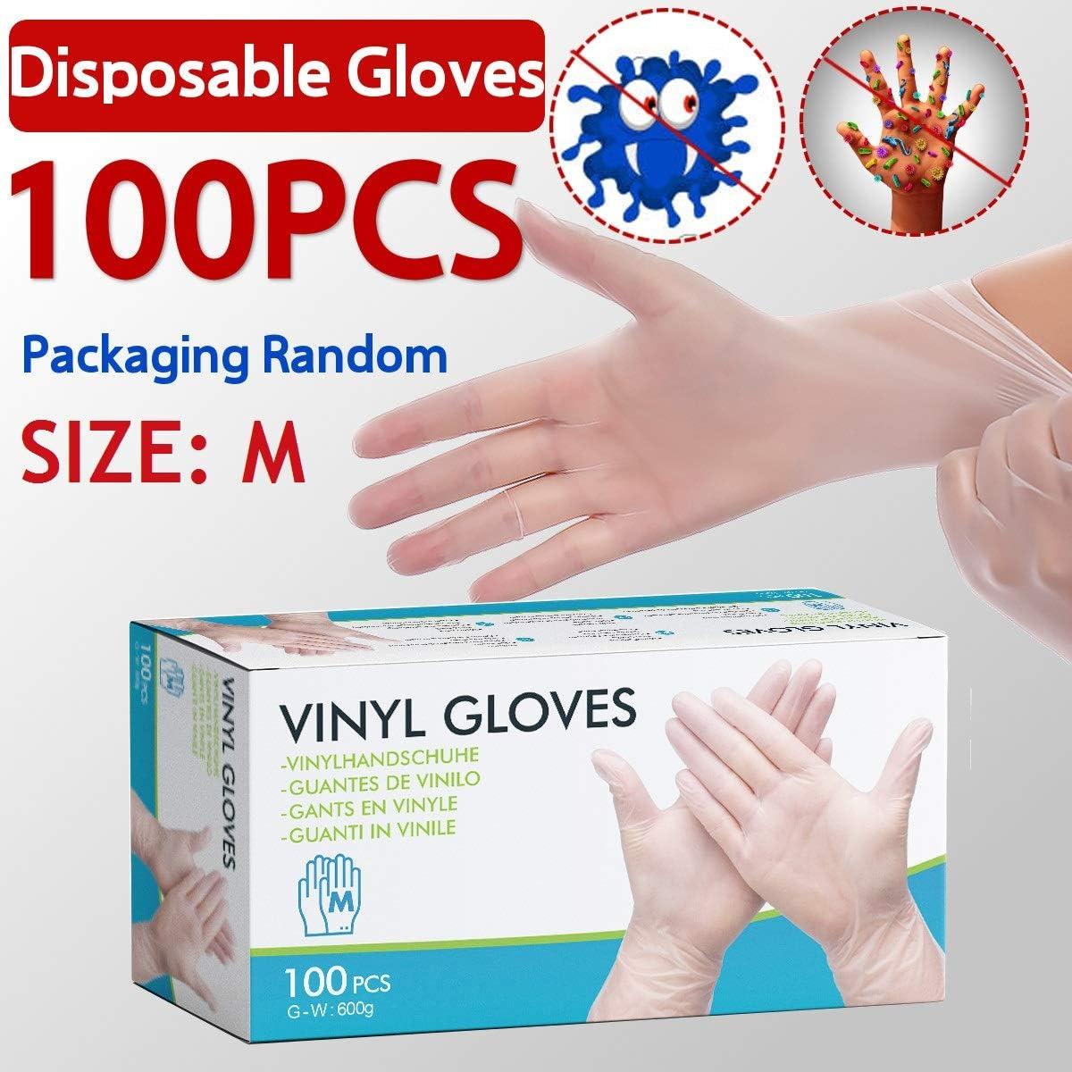 Taille EIVOTOR Gants St/ériles Gants de Protection Gloves pour Alimentaire Cuisine Restaurant Beaut/é Coiffure Jardin Gants Jetables en PVC 100 PCS XL Blanc Transparent