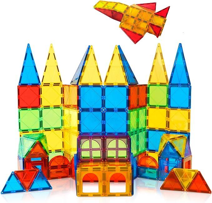 MAG-WISDOM Magnetic Tiles for Kids Magnet Castle Building Tiles 36 Pcs 3D Magnetic Blocks for Kids Children Educational Toys 2 Toy Figures Included