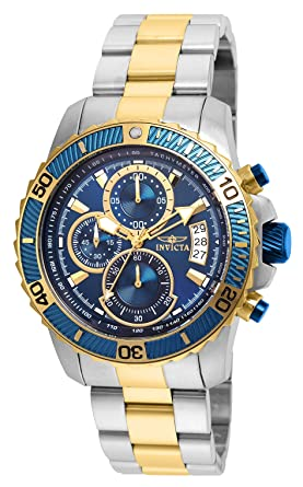 Invicta Mens Pro Diver Quartz Watch with Stainless-Steel Strap, Two Tone, 22