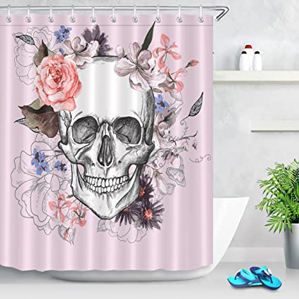 LB Sugar Skulls Shower Curtain Flowers Decor Dusty Pink Mexican Style Bathroom With Hooks Polyester