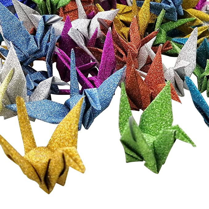 Guirnaldas de origami de Hangnuo decoraci/ón del hogar para bodas hilo de seda invisible forma de grulla