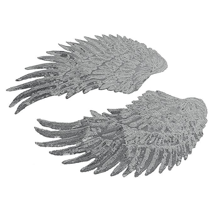 Amazon.com: MagiDeal 1 Pair Angel wings Romantic Patch Applique Craft For Clothes DIY 2016 - Silver, 33 18cm Monolithic