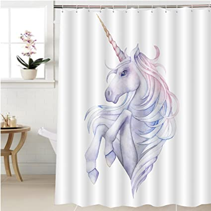 Gzhihine Shower Curtain Cute Watercolor Unicorn In Pastel Colors Hand Drawn  Fantasy Art Isolated On White