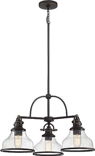 Quoizel GRTS5103PN Grant Clear Seedy Glass Chandelier, 3-Light, 300 Watts, Palladian Bronze 16 H x 24 W