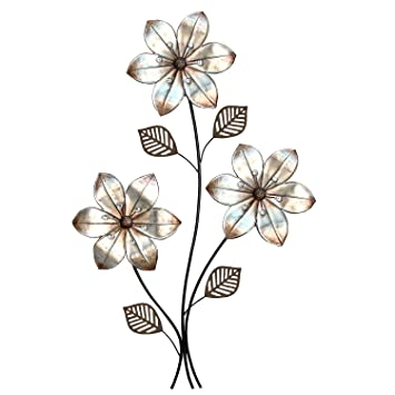Amazon.com: Stratton Home Decor SHD0169 Eclectic 3 Stem floral Wall ...