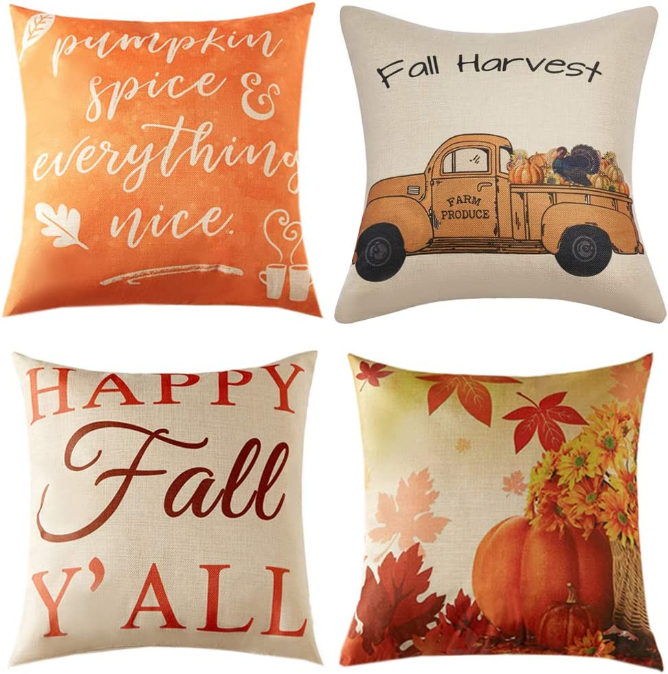 Anickal Thanksgiving Fall Pillow Covers 20x20 Inch for Fall Decor Set of 4 Autumn Harvest Pumpkin Theme Farmhouse Decorative Throw Pillow Covers for Sofa Couch Home Decoration