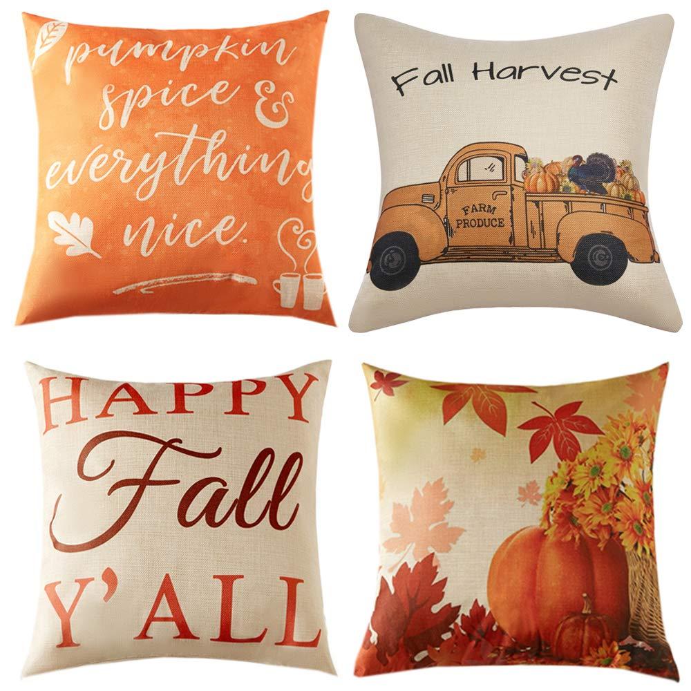 Anickal Set of 4 Fall Pillow Covers Autumn Thanksgiving Theme Farmhouse Decorative Throw Pillow Covers 18x18 Inch for Fall Decorations by Anickal