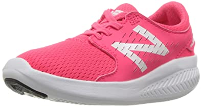 9c428284aa90f New Balance Girls' Coast V3 Hook and Loop Road Running Shoe, Pink/White
