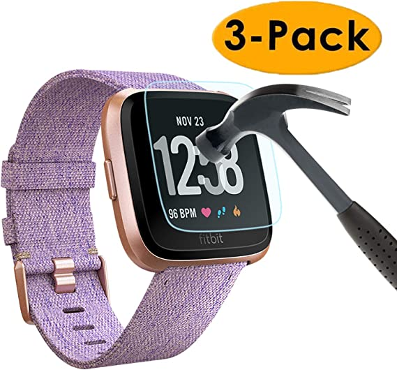 Tempered Glass For Fitbit Versa 3-Pack 3-PACK Silicone Band Straps Large With