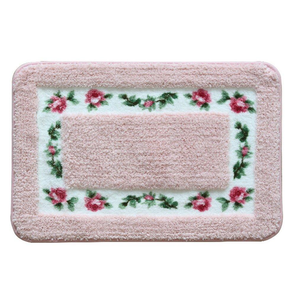Sytian® Decorative Super Soft Floral Design Rural Style Pretty Rose Pattern Non Slip Absorbent Shaggy Area Rug Carpet Doormat Floormat Bath Mat Bathroom Shower Rug (15.75*23.62 Inch) (Pink)