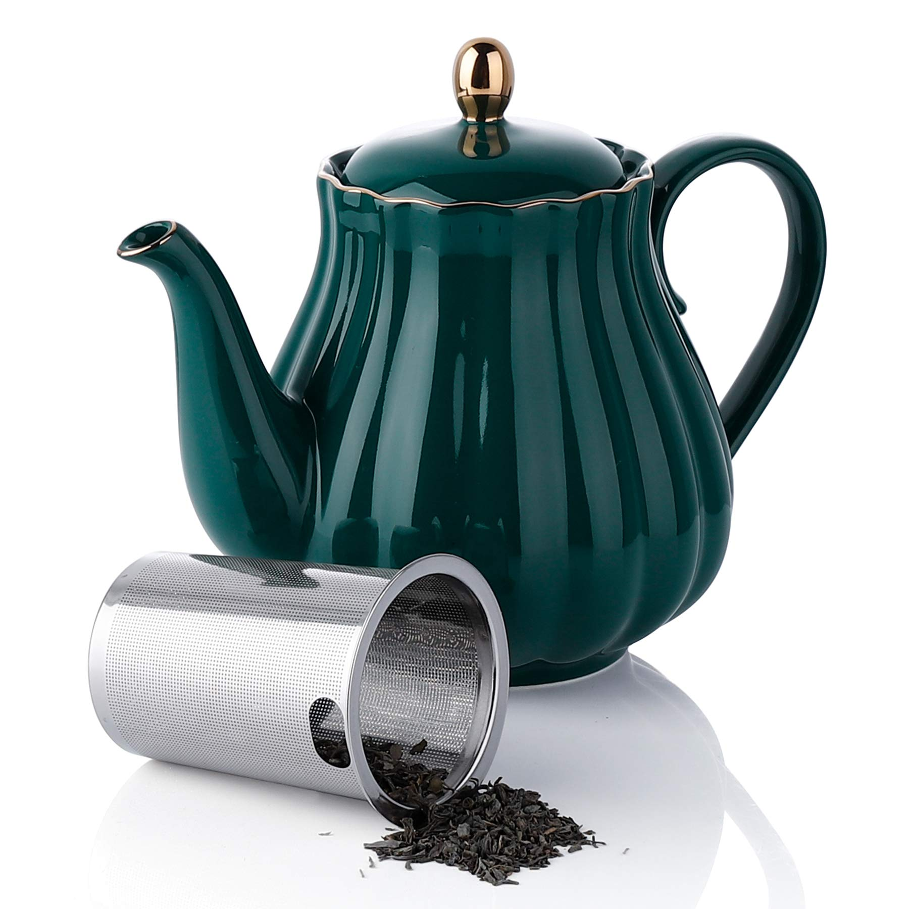 Amazingware Royal Teapot, Porcelain Tea Pot with Stainless Steel Infuser, with a Filter for Loose Tea, Pumpkin Fluted Shape - 28 oz, Dark Green