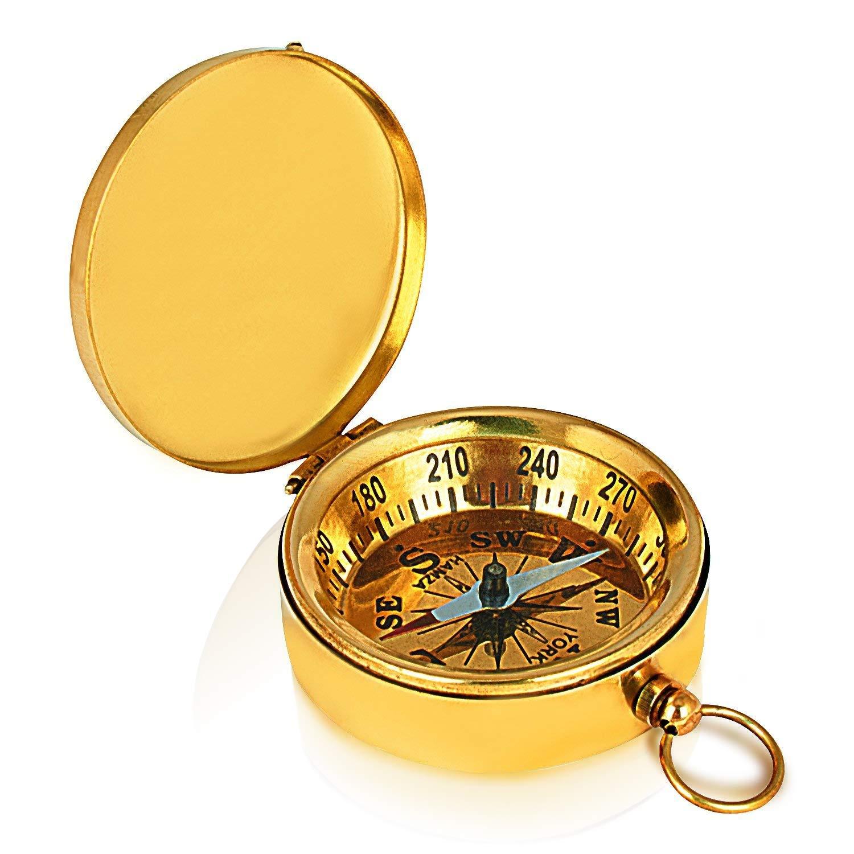父の日ギフトソリッド真鍮クラシックポケットサイズキャンプコンパス1.75インチハイキングクライミングサイクリングハンティングサバイバルコンパスアウトドアナビゲーション指向性Nautical Compass Gifts for Kids   B07946QVT7