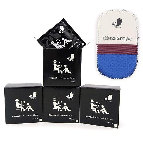 BONSYL Toallitas desechables de limpieza de viaje portátiles para calzado y cuero. Elimina las manchas