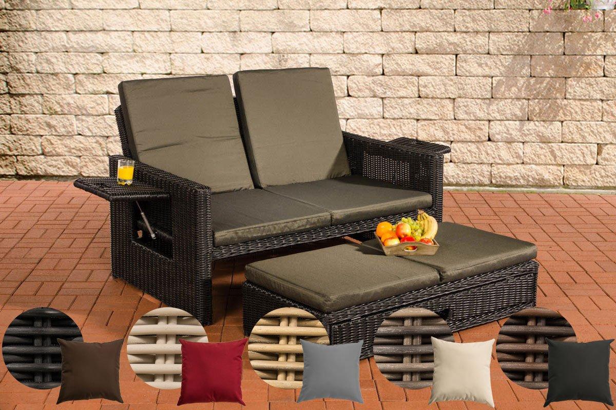 CLP Poly-Rattan 2er Lounge-Sofa ANCONA, Geflecht RUND, ALU-Gestell, ausziehbare Fußbank, flexibel verstellbar Rattan Farbe schwarz, Bezugfarbe: Anthrazit