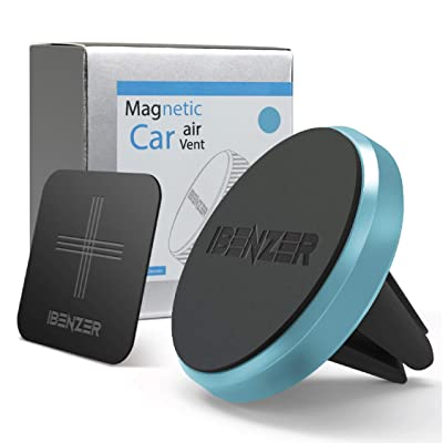 Magnetic Phone Car Mount, iBenzer Magon Cellphone Metal Air Vent Magic Cell Phone Holder for All Mobile Smartphones iPhone Samsung Galaxy Note Google Pixel, Blue,CMH-AV02MBL-A