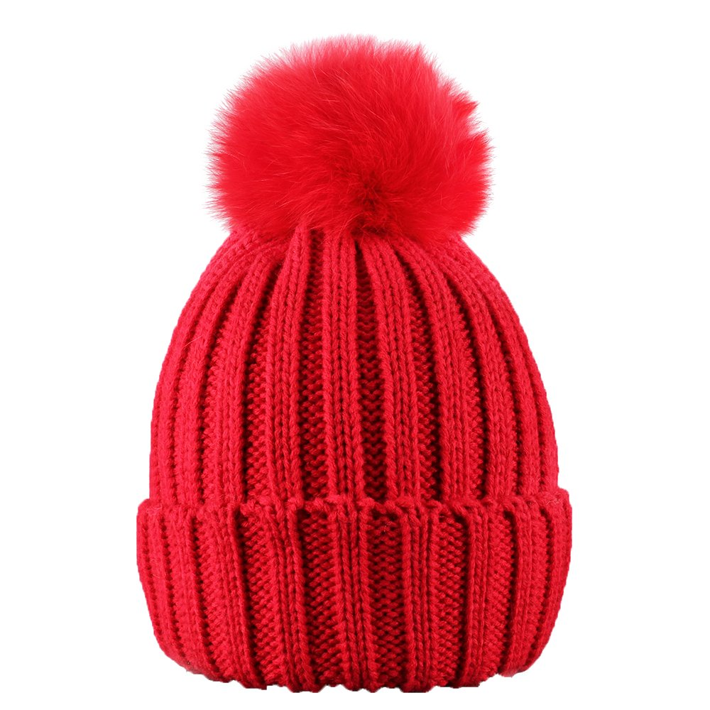 90 Points 2018 Warm Winter Fur Hat Knitted Pom Pom Beanie Bobble Hats For Outdoor Camping Ski Caps