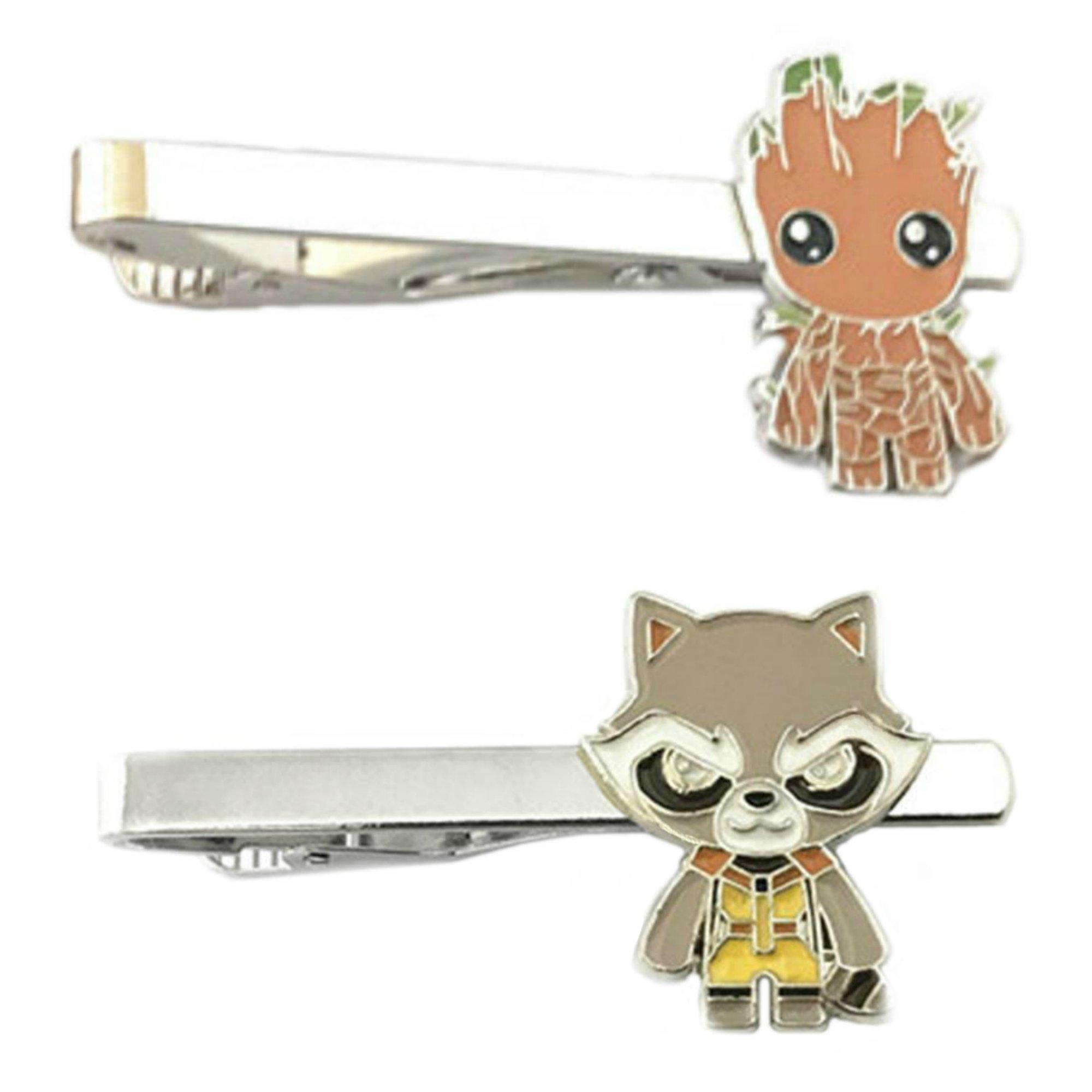 Outlander Marvel Comics - Groot & Rocket - Tiebar Tie Clasp Set of 2 Wedding Superhero Logo w/Gift Box