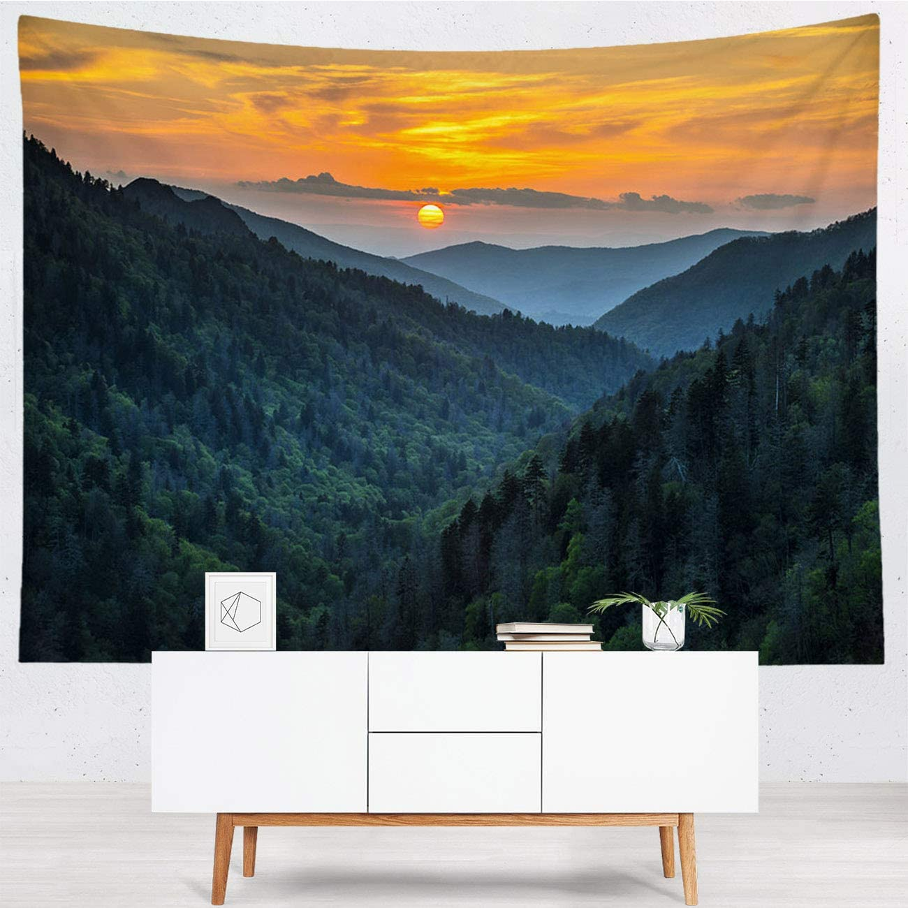 National Park Hanging Wall Tapestries Polyester Thin Tapestry Gatlinburg Tn Great Smoky Mountains National Park Scenic Sunset Landscape Fashion Wall Tapestry For Dorm Bedroom Living Room 110x90 In Home Kitchen