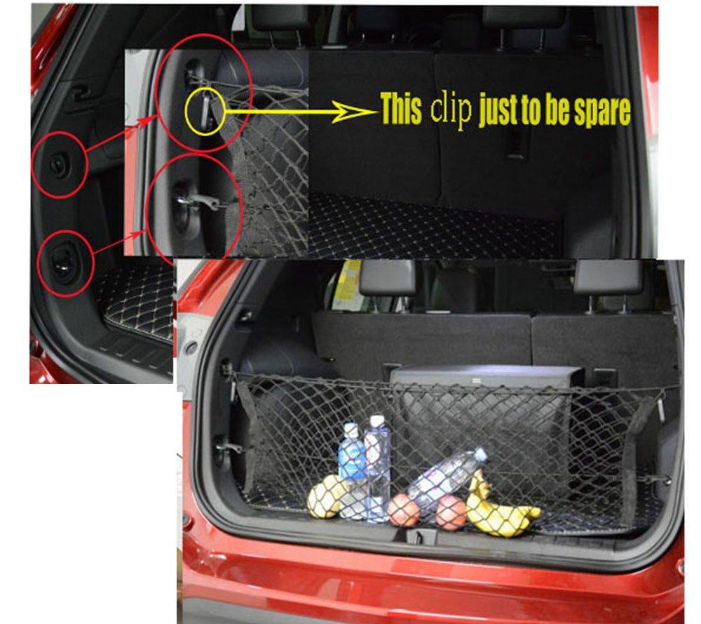 Kaungka Cargo Net 33 X 26 4 Hooks Nylon Black Rear Trunk Elastic Mesh for 2013 2014 2015 2016 2017 HONDA CR-V Pilot Crosstour Jeep Compass Patriot Renegade