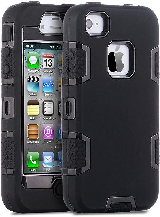 ULAK Coque iPhone 4S, iPhone 4 Coque Housse Étui Hybride 3 en 1 Silicone et PC Rigide Antichocs Protection Coque pour Apple iPhone 4S/4 (Noir)