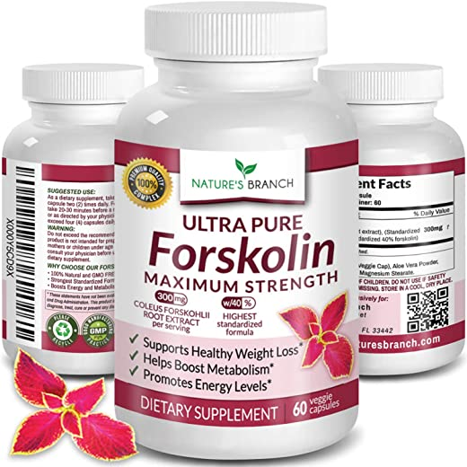 Premium 100% Ultra Pure Forskolin for Weight Loss Max Strength w/ 40% Standardized Coleus Forskohlii Root Extract Powder Belly Buster Supplement - Extreme Keto Advanced Boost Complex - 60 Diet Pills