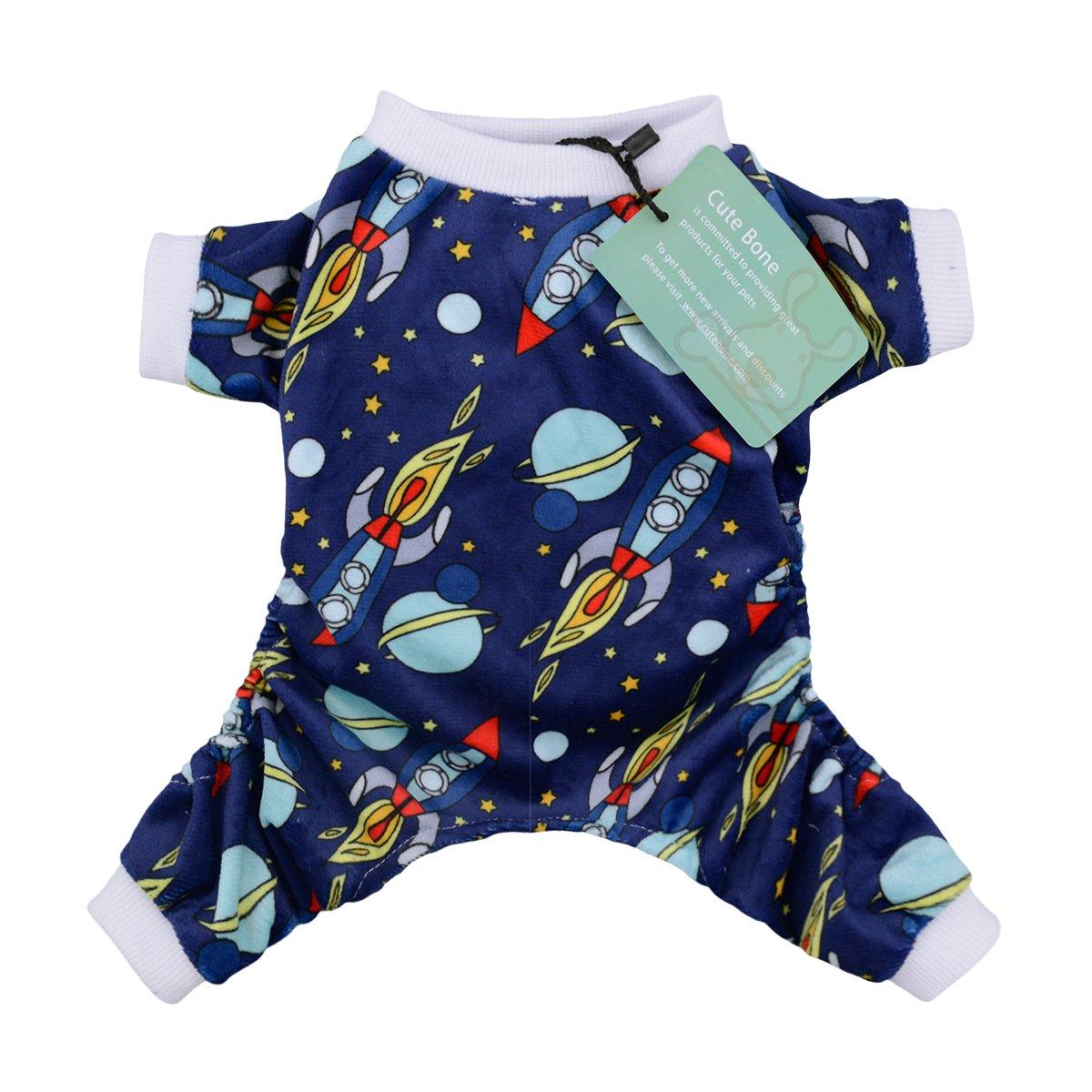 CuteBone Dog Pajamas Rocket Dog Apparel Dog Jumpsuit Pet Clothes Pajamas P16M