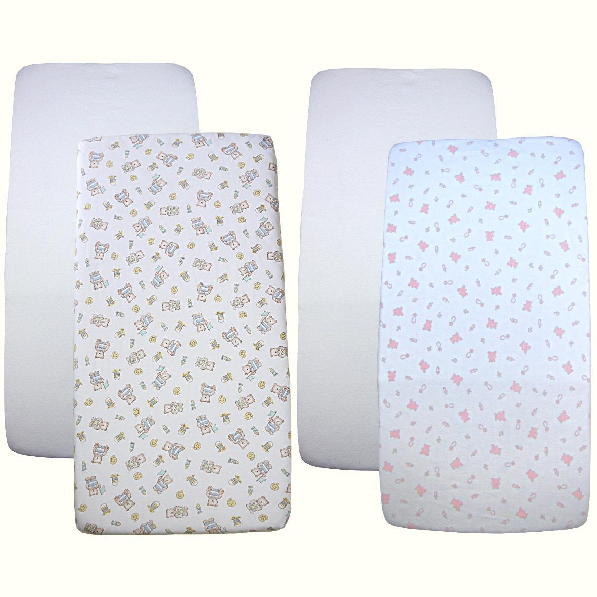 Babyprem Nursery 2 Fitted Cotton Cradle Sheets 17 X 33'' White & Pink/Blue Teddy