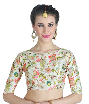 e69c55d58b1677 Studio Shringaar Women's Polyester Readymade Saree Blouse (  S195236,Multicolor ...
