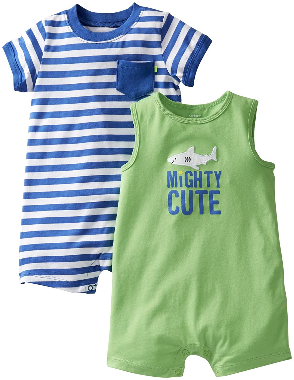 118a41fac691 Amazon.com  Carter s Baby Boys  2 Pack Pocket Rompers (Baby)  Clothing