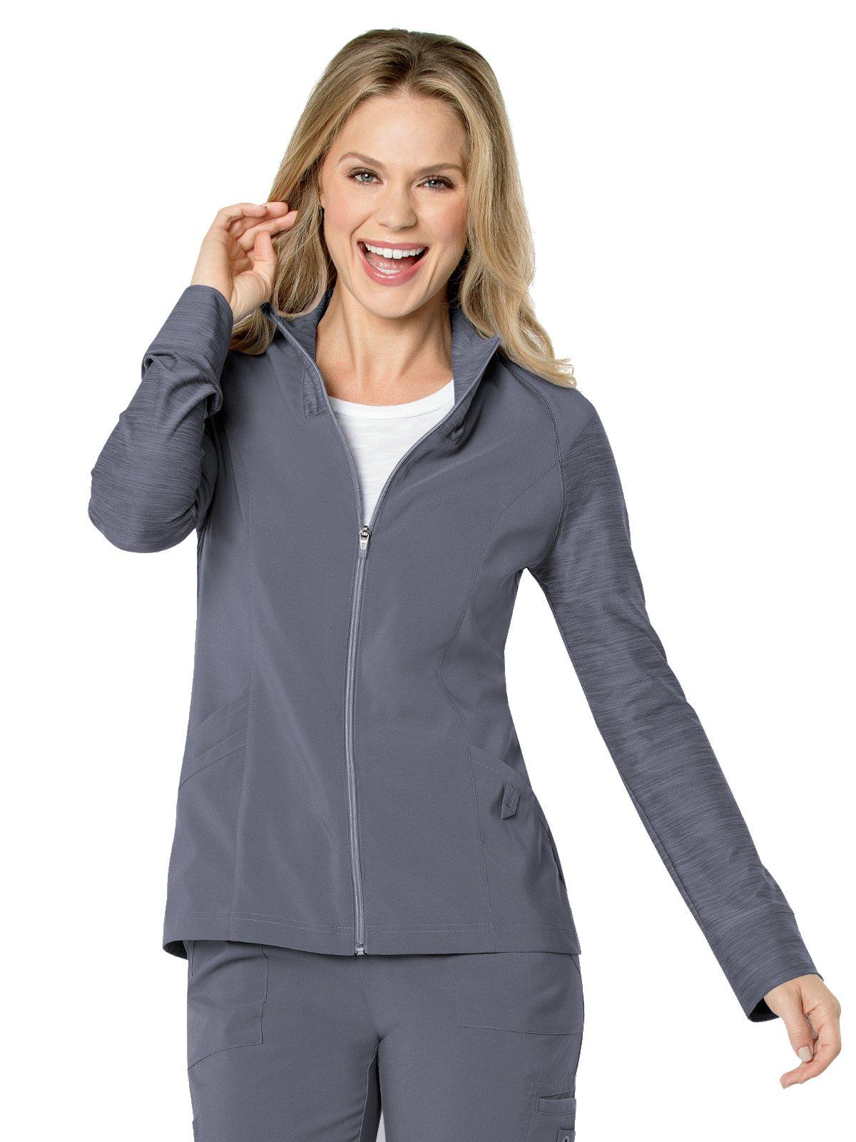 Urbane Performance 9876 Women's Modern Fit Quick Cool Crossover Zip Scrub Jacket Steel S by Landau