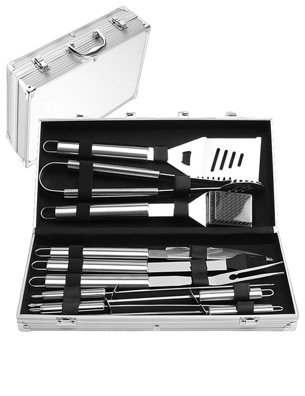 Menschwear BBQ Tool Sets Heavy Duty Stainless Steel Barbecue Accessories Aluminum Case Grill Tools Set (10-Piece) 1 Professional grilling set: grill shovel*1 , fork*1 , knife*1 , tongs*1 , silicone basting brush*1 , grill cleaning brush*1 , skewers*4 . Shovel has a razor sharp serrated edge on one side for easy cutting of meat, a meat tenderizer on the other side, and a built-in bottle opener. Durable and easy to clean: All stainless steel, this 10-piece grill set won¡¯t chip, tarnish or rust. Stylish and safe: Extended stainless handles add elegance and keep your hands away from the flames.