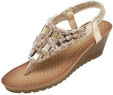 d67d40ede254 Abby 88B-1 Womens Split Open Toe Thong Low Wedge Heel Elastic Strap  Rhinestone Bead