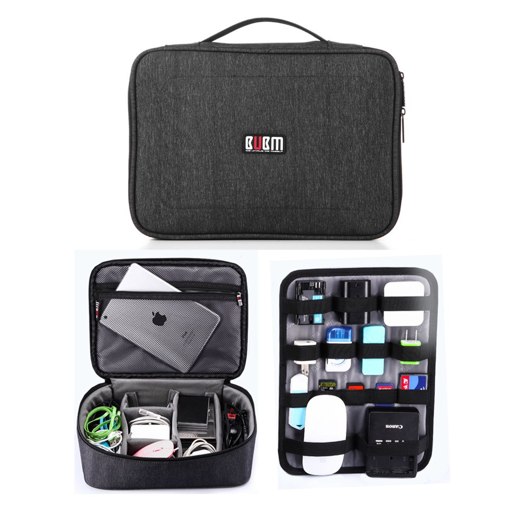 BUBM Electronic Organizer, Double Layer Travel Gadget Carry Bag for Cables/Lightning/Charger/Plugs/Earphone/Flash Hard Drive/Camera Lens/Earbuds and More, Sleeve Storage Pouch (Black2)