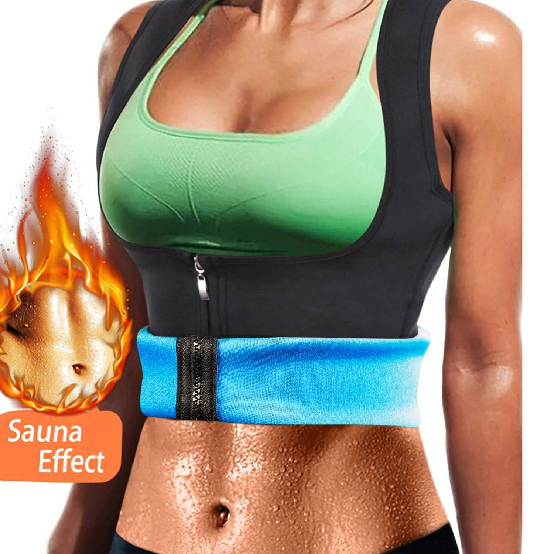 VENAS Women Neoprene Sauna Sweat Waist Trainer Vest with Zipper for Weight Loss Gym Workout Body Shaper Tank Top Shirt (Blue, S)