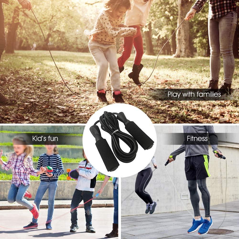 Adecuadas para Entrenamiento Deportivo de Resistencia a la Velocidad Lixada Cuerda de Saltar Ajustable/—Manijas de Espuma Suave Fitness sin Enredos
