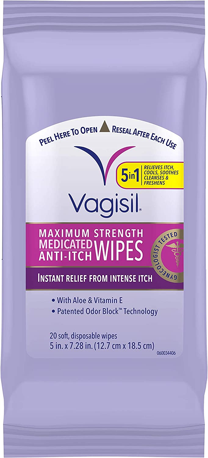 Vagisil Anti-Itch Medicated Feminine Intimate Wipes for Women, Maximum Strength, Gynecologist Tested, 20 Wipes