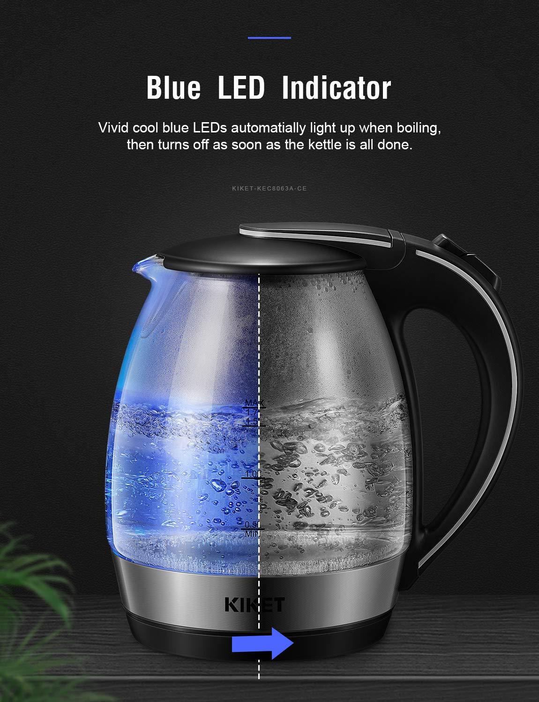 Bollitore in Vetro Elettrico KIKET, 1.7L Bollitore d\'acqua Borosilicato con Illuminazione a LED, Protezione Boil-dry, BPA-Free Teiera Elettrica, 2200w Sano Bollitore