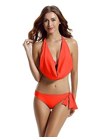 66b408630cc5d Amazon.com: zeraca Hipster Halter Cowl Neck Bikini Bathing Suits (S6 ...