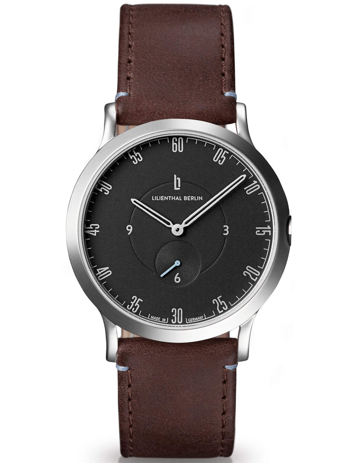 Lilienthal Berlin Watch - Made in Germany - Designed in Berlin. Model L1 with Stainless Steel Case (Size: 37.5 mm, Case: silver / Dial: black / Strap: brown)
