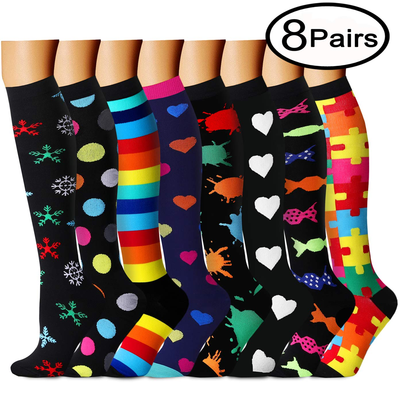QUXIANG Copper Compression Socks for Women and Men - Best Medical, Nursing, Running, Athletic, Edema, Diabetic, Varicose Veins, Travel, Pregnancy & Maternity 15-20 mmHg (Small/Medium, Multicolour 19)