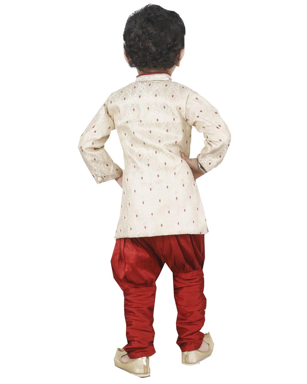 JBN Creation Boys Beige Banarasi Cotton Silk Kurta Pyjama With Jodhpuri Breeches (Size: 6-12 Months) by jbn creation (Image #4)
