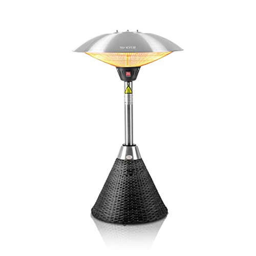 Firefly 2.1kW Table Top Electric Infrared Halogen Bulb Garden Outdoor Patio  Heater With Black Rattan