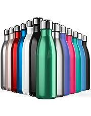 BICASLOVE Botella de Agua de Acero Inoxidable,diseño de Pared Doble,Boca estándar,para Correr, Gimnasio, Yoga, Ciclismo